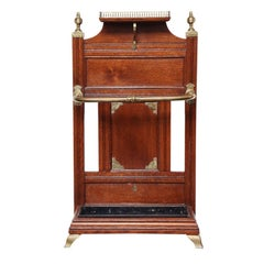 "19th Century English ""Shoolbred"" Oak and Brass Hall Stand"