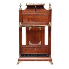 """19th Century English """"Shoolbred"""" Oak and Brass Hall Stand"""
