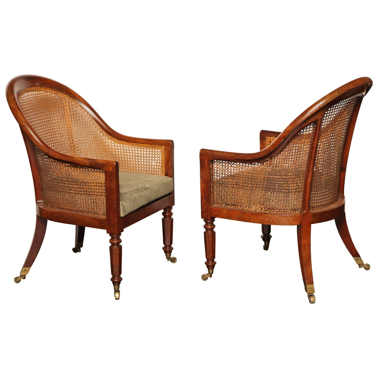 Pair of Early 19th Century English, Mahogany and Caned Armchairs