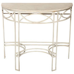 1930s English Deco Marble and Iron Demilune Console