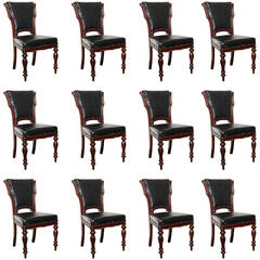 Set of 12, Mid-19th Century Irish Mahogany Dining Chairs