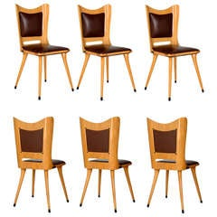 Set Of Six '50s Plywood Chairs