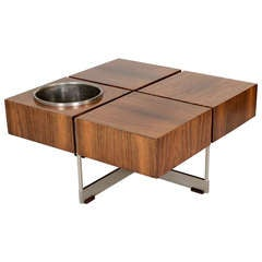 Unusual '50s Coffee Table With Flower Pot