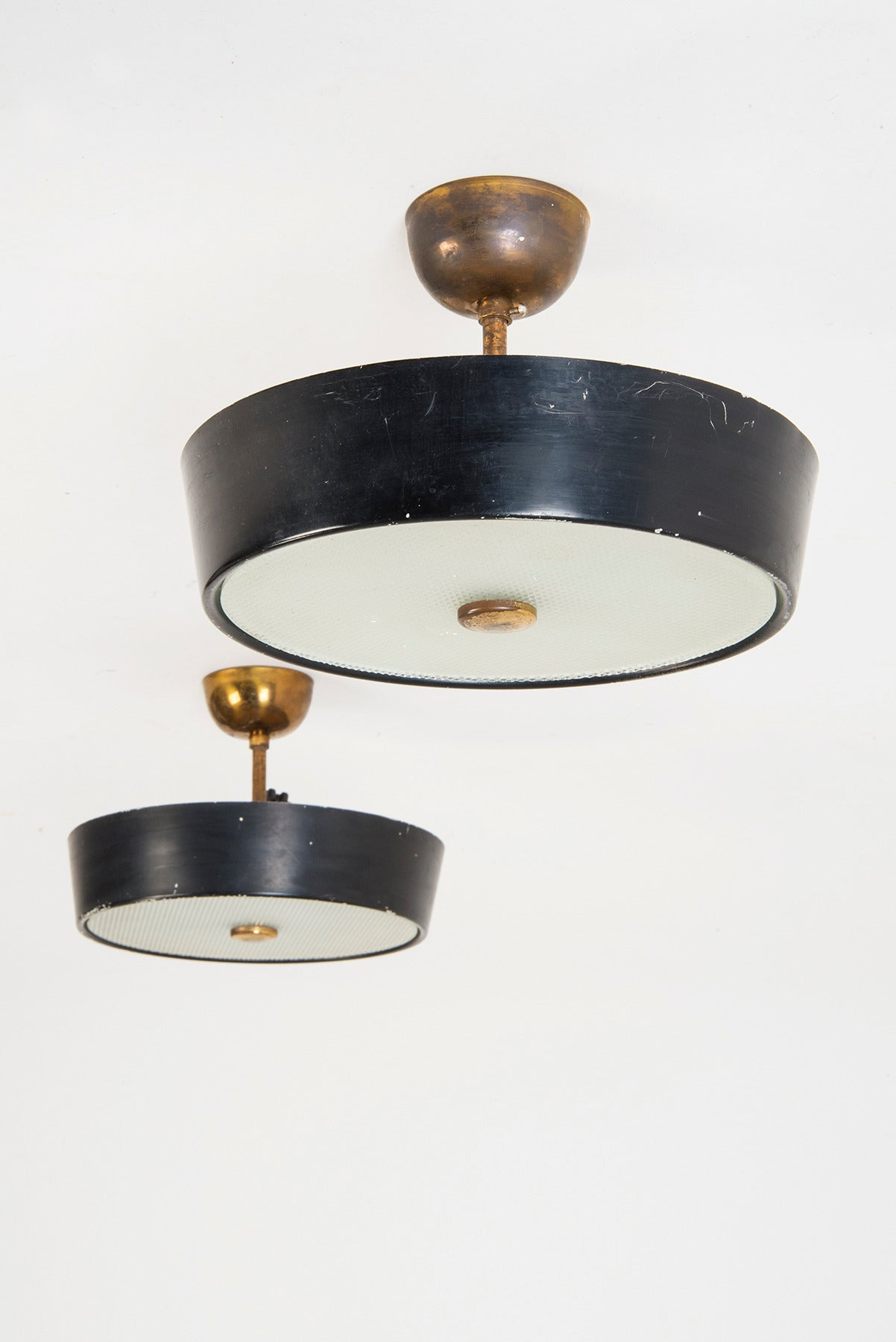 Italian Set of Three 1950s Ceiling Fixtures by Stilnovo For Sale