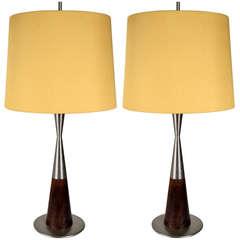 Pair of model 8058 '50s Stilnovo table lamps