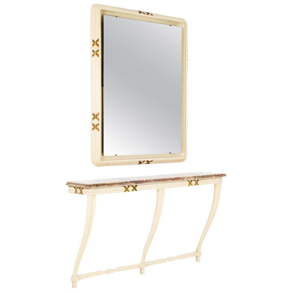 Console and mirror by osvaldo borsani for arredamenti for Miroir 110 x 90