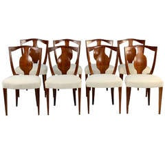 Set of Eight Elegant Neo Classical Dining Chairs Designed by Giuseppe Gibelli