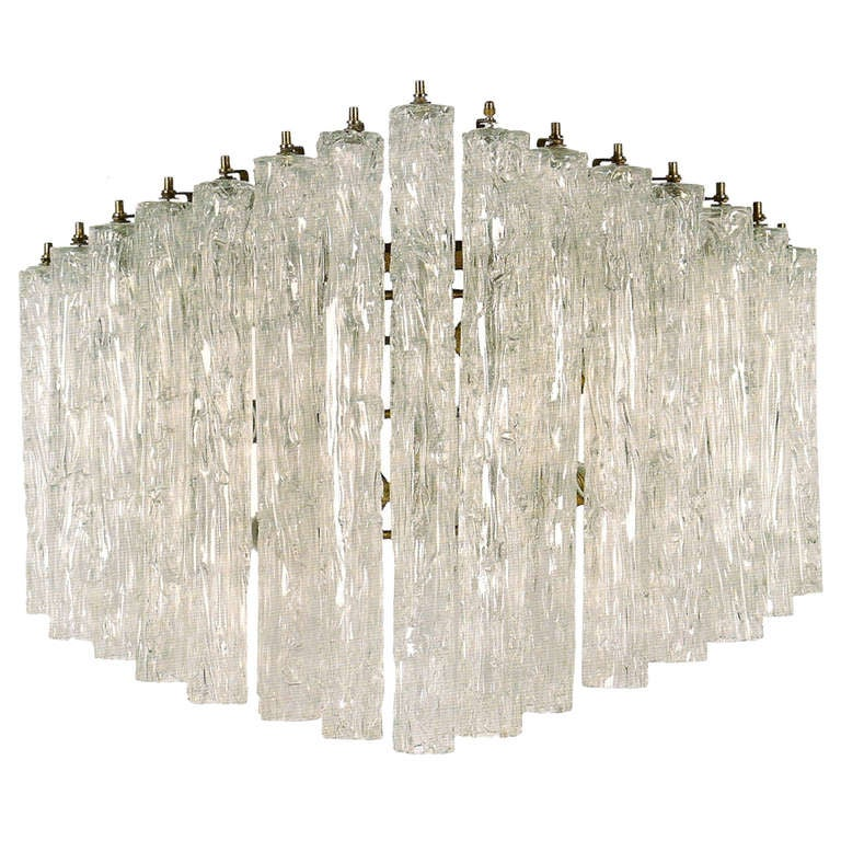 1960s Venini Wall Light Made of Transparent Murano Glass Elements