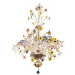 1930s Fratelli Toso Murano Chandelier in Transparent Glass with Colored Flowers