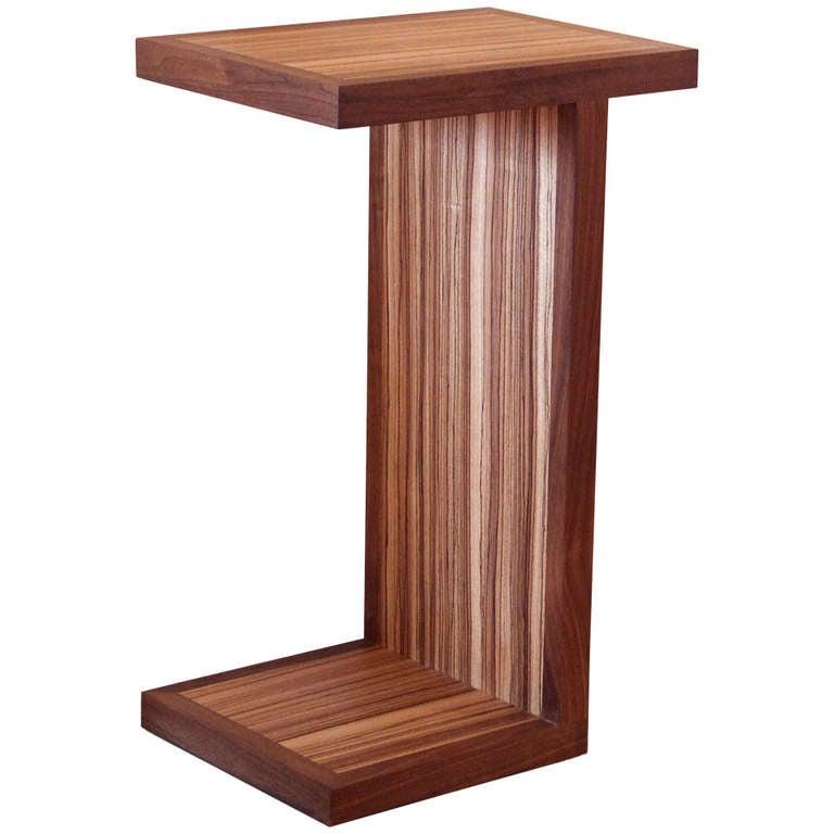 craftsman style exotic wood pedestal side or lamp table at. Black Bedroom Furniture Sets. Home Design Ideas