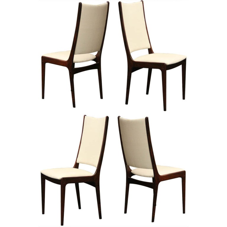 four danish modern rosewood highback dining chairs at 1stdibs