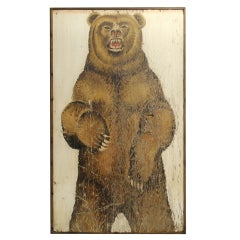 Fantastic Original Carnival Folk Art Painting of a Grizzly Bear