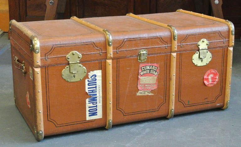 Vintage Wood and Brass Trimmed Steamer Trunk with Cunard Luggage Tags image 2
