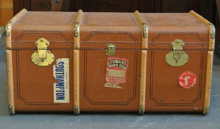 Vintage Wood and Brass Trimmed Steamer Trunk with Cunard Luggage Tags image 3