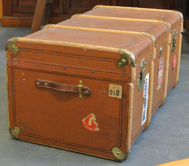 Vintage Wood and Brass Trimmed Steamer Trunk with Cunard Luggage Tags image 4
