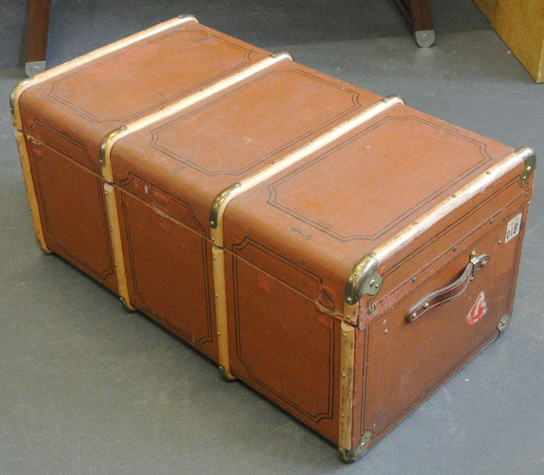 Vintage Wood and Brass Trimmed Steamer Trunk with Cunard Luggage Tags image 5