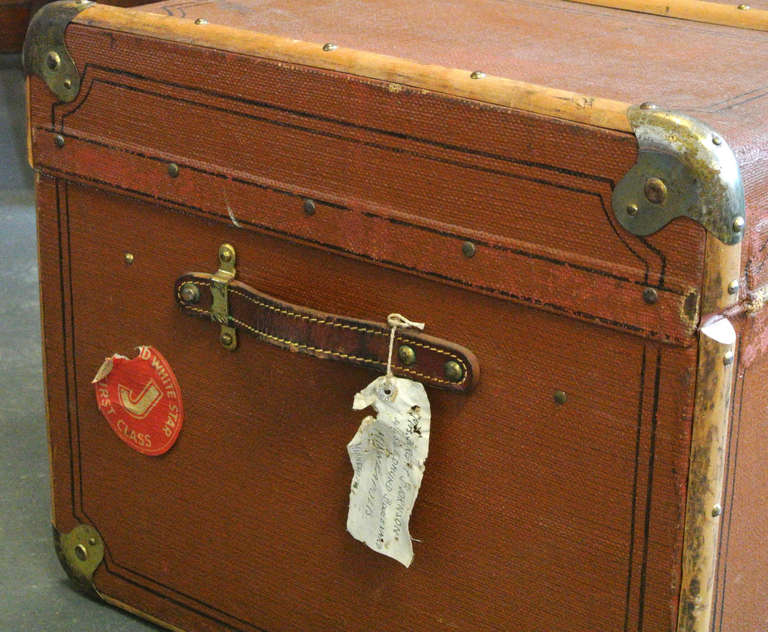 Vintage Wood and Brass Trimmed Steamer Trunk with Cunard Luggage Tags image 6