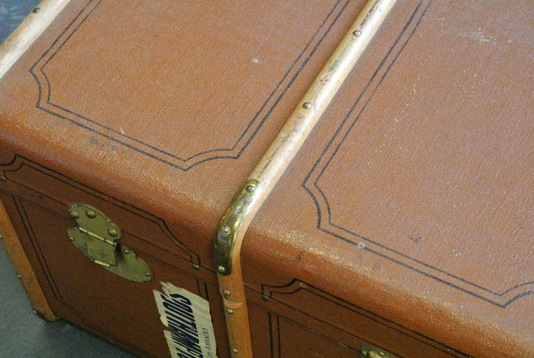 Vintage Wood and Brass Trimmed Steamer Trunk with Cunard Luggage Tags image 7