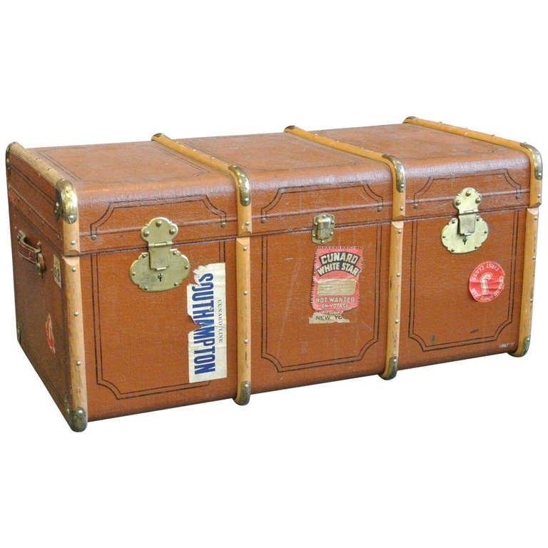 Vintage Wood and Brass Trimmed Steamer Trunk with Cunard Luggage Tags