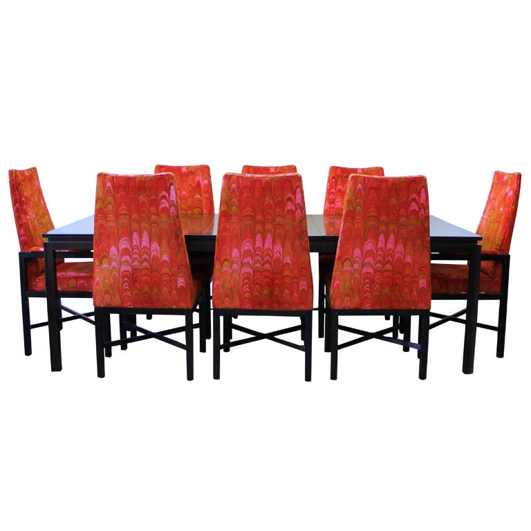 Dunbar Dining Table and Eight Chairs with Original Upholstery