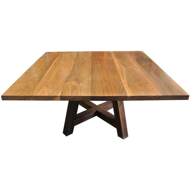 Custom Arts And Crafts Solid Walnut Plank Dining Or Conference Table At 1stdibs