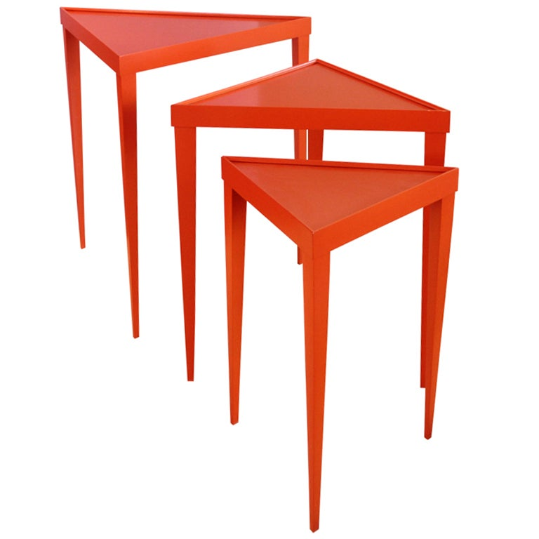 Bright Orange Set Of Three Nesting Tables At 1stdibs