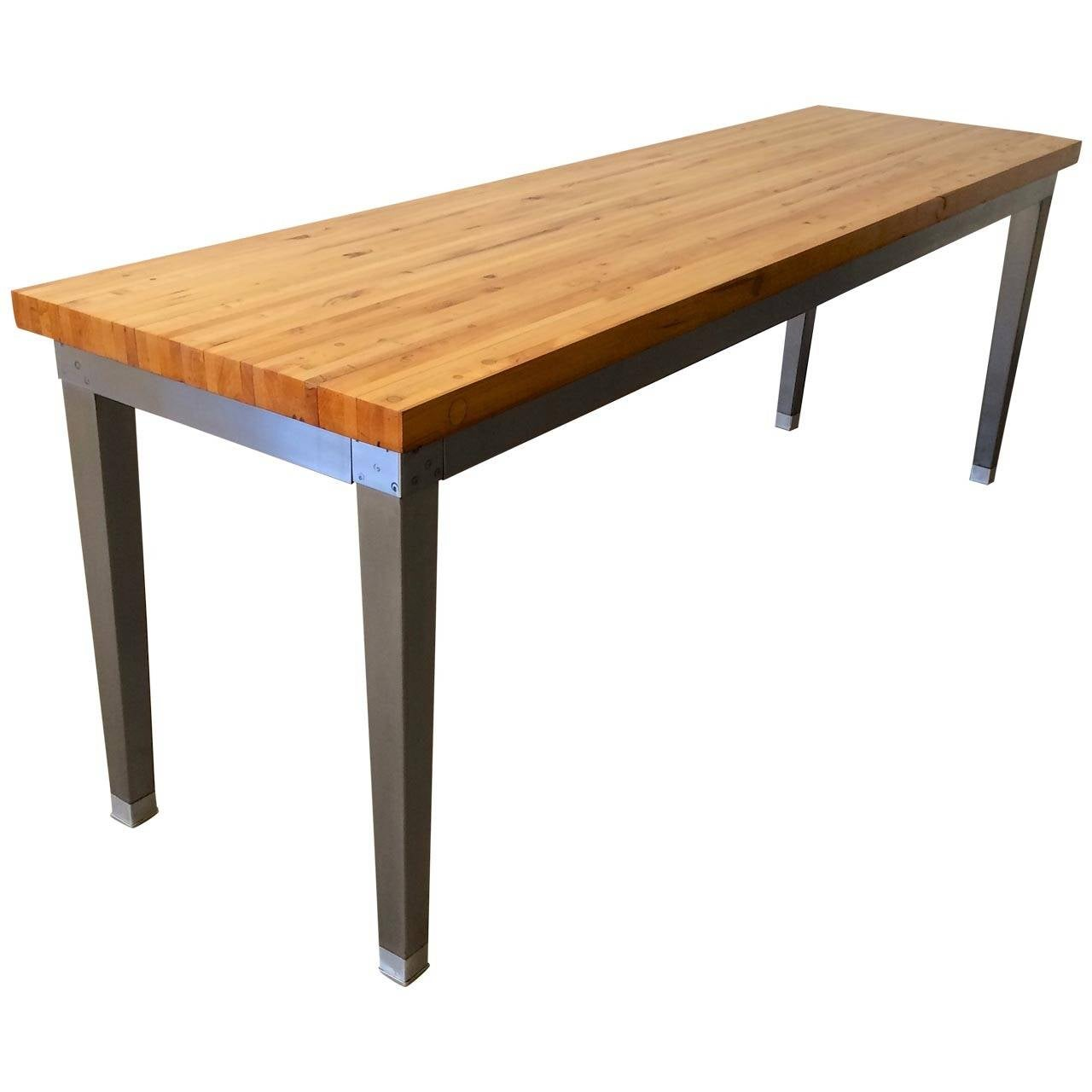 Vintage industrial butcher block table at 1stdibs for Furniture work table