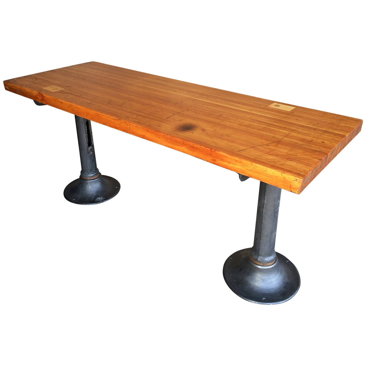 Vintage industrial bar height work table at 1stdibs for Furniture work table