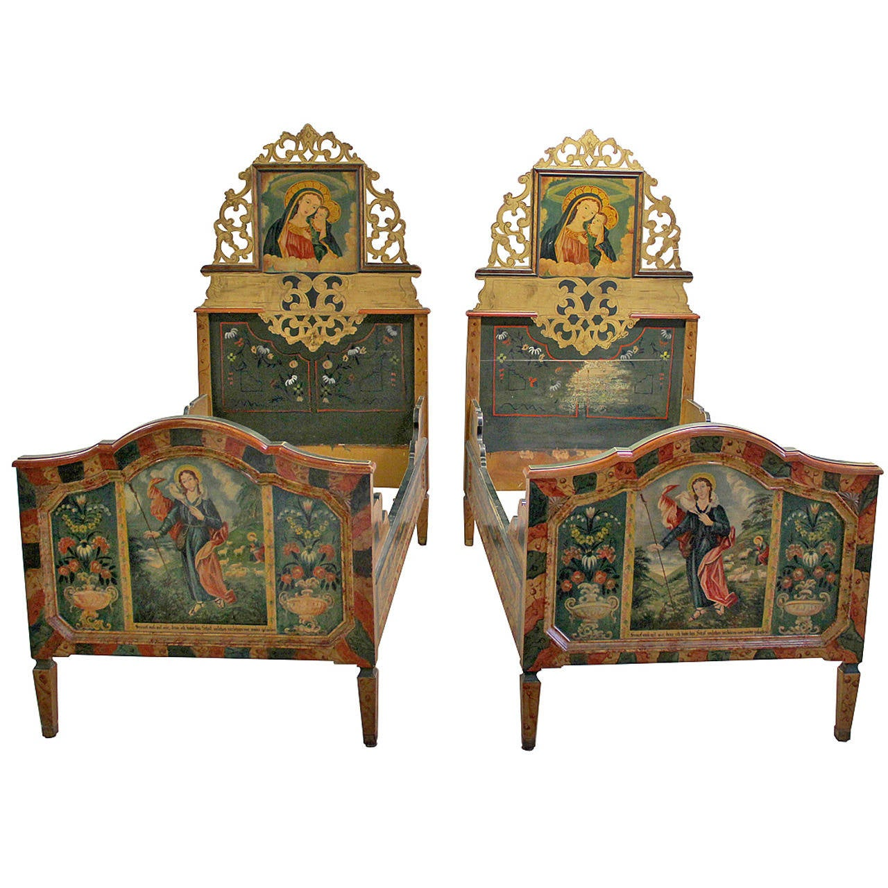 Pair Of Swiss Alpine Folk Painted Twin Beds At 1stdibs