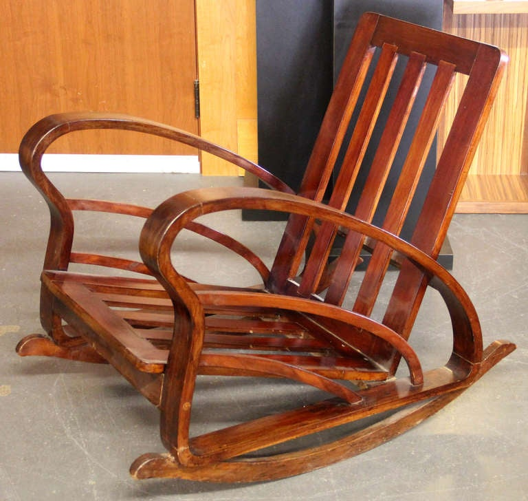 Pair of French Art Deco Style Bentwood Rocking Chairs image 4