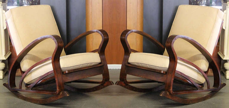 Pair of French Art Deco Style Bentwood Rocking Chairs image 2