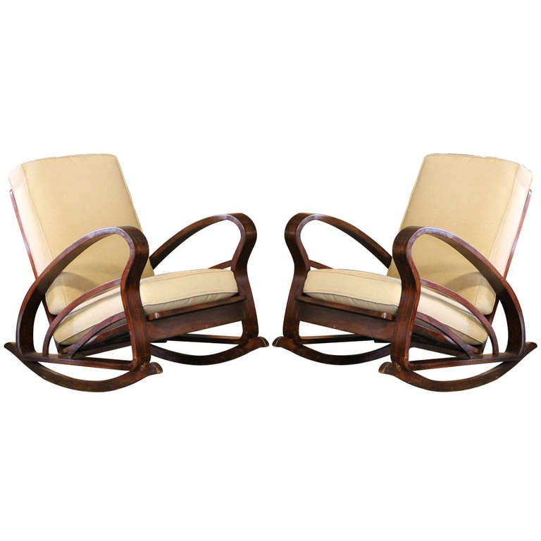 Pair of French Art Deco Style Bentwood Rocking Chairs