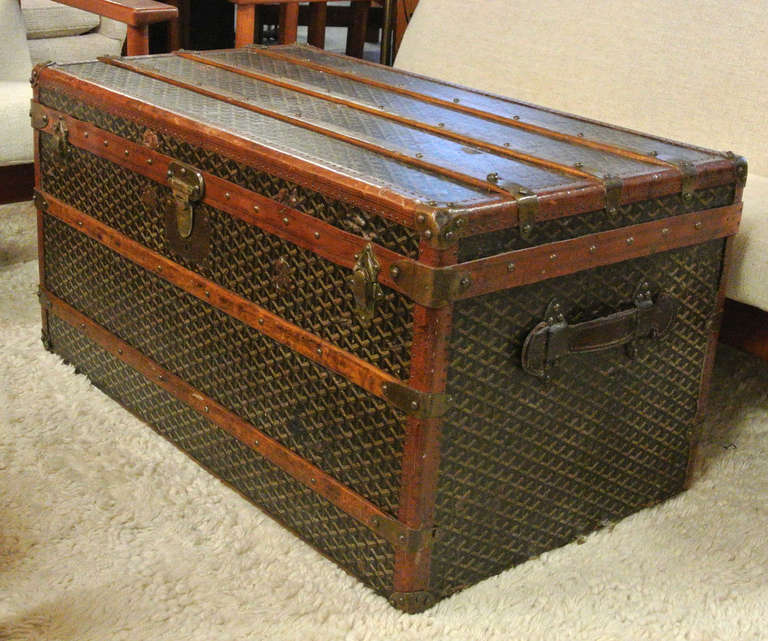 Early 20th Century Maison Goyard Coffee Table Size Steamer Trunk Image 6