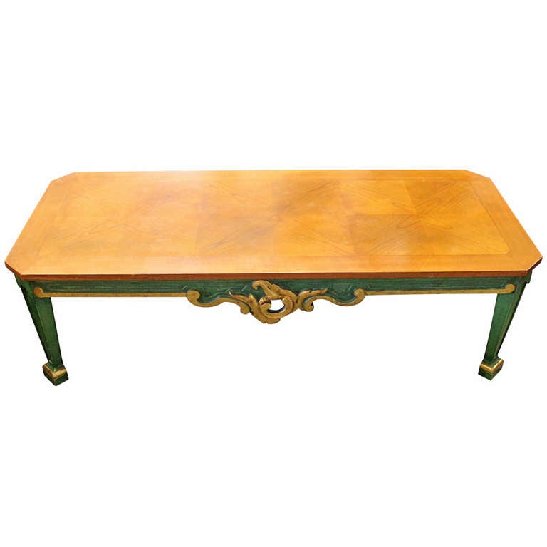 baker hollywood regency coffee table with parquetry top at 1stdibs