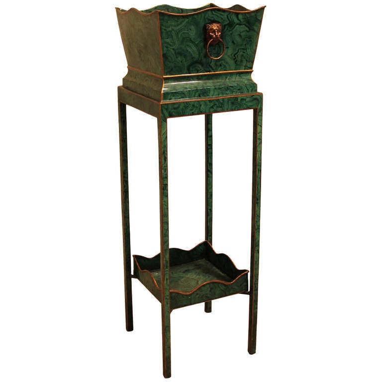 Maitland Smith Faux Malachite Regency Style Two Tier Plant