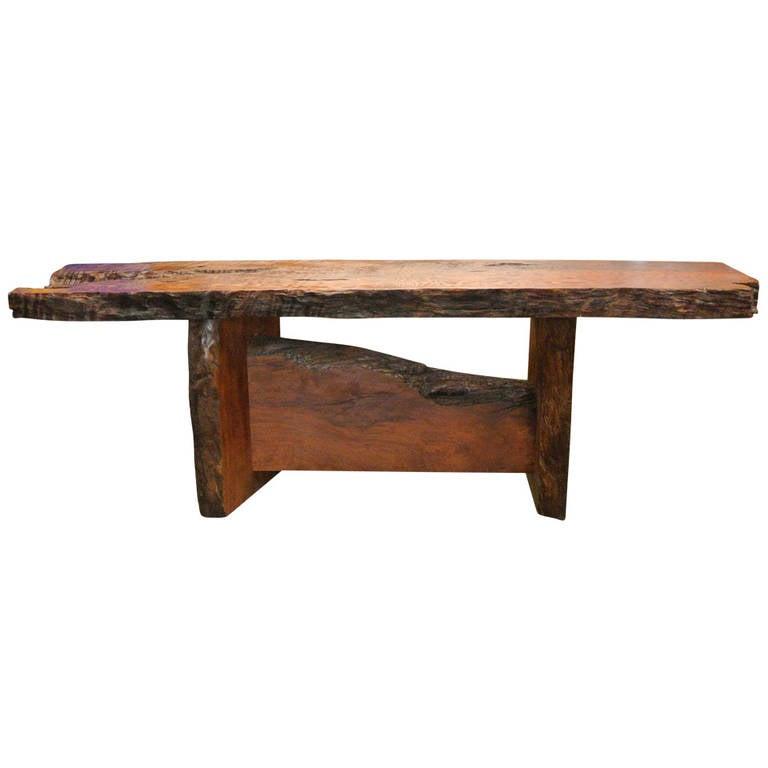California Redwood Coffee Table: Nakashima Style California Redwood Live Edge Console Table