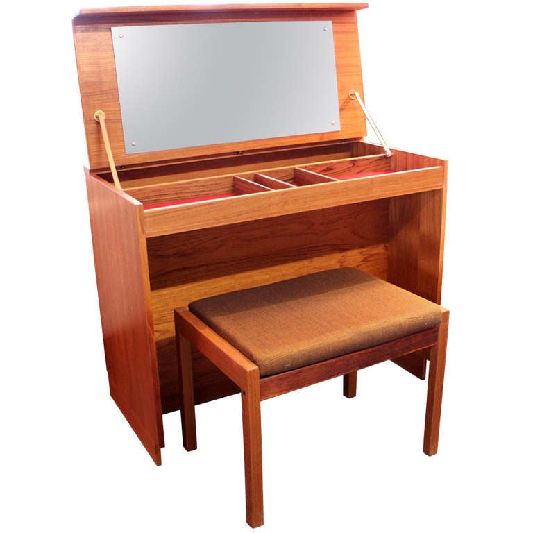 Danish Modern Teak Dressing Or Vanity Table With Bench At 1stdibs