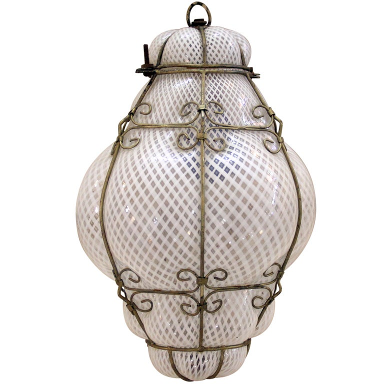 murano style pendant hanging light fixture with metal cage