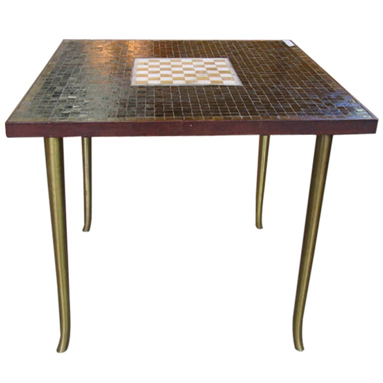 Murano Glass Tile Game Table With Inset Marble Chess Board