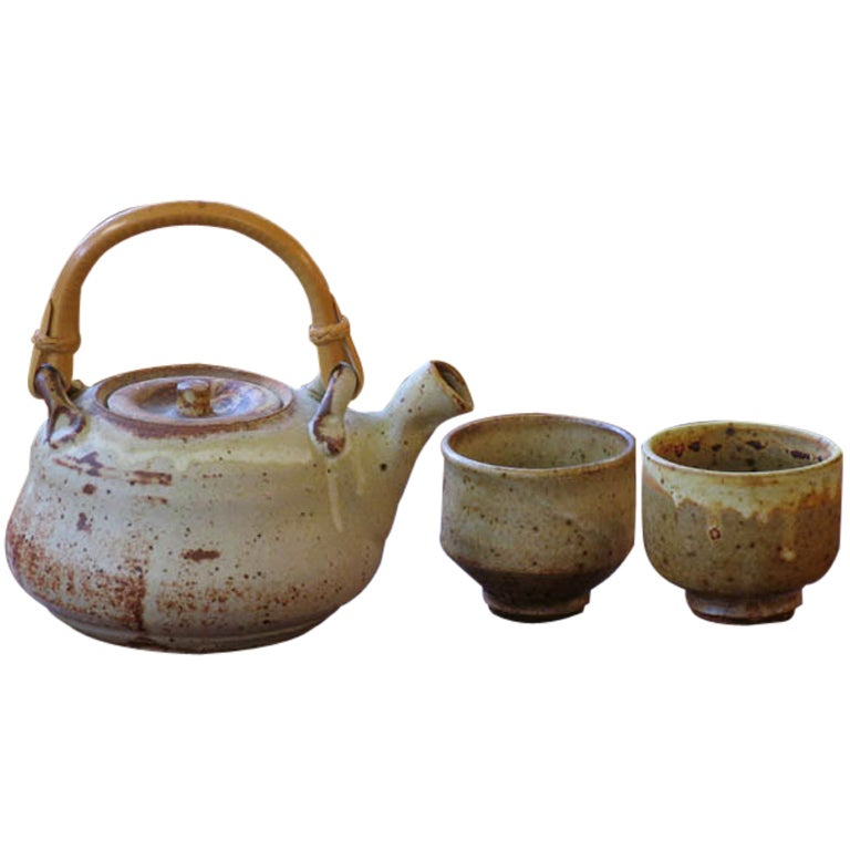 Mingei Style Studio Pottery Teapot And Cups By Warren