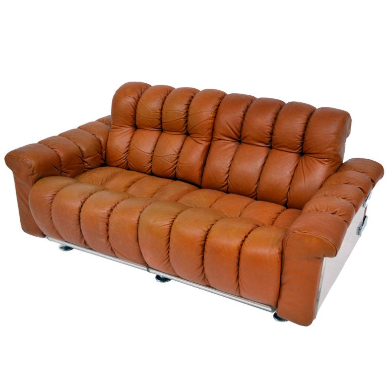 Sofa in leather 70 39 s at 1stdibs for Sofa 1 70 breit