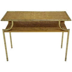 Console 80's - golden metal and bamboo