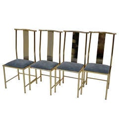 Set of 4 Chairs in goden metal