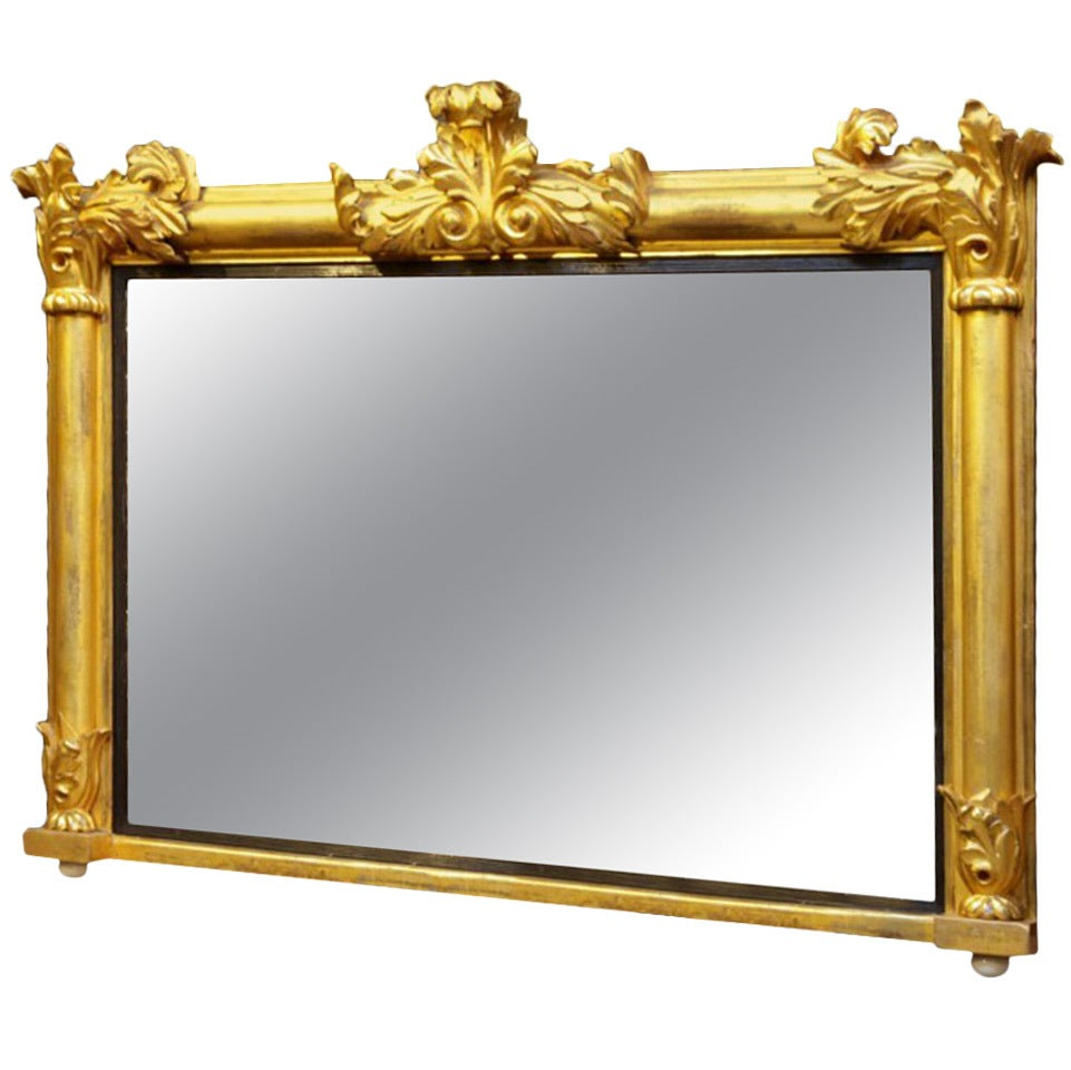 Gilt wood over mantel mirror at 1stdibs for Mirror over mirror
