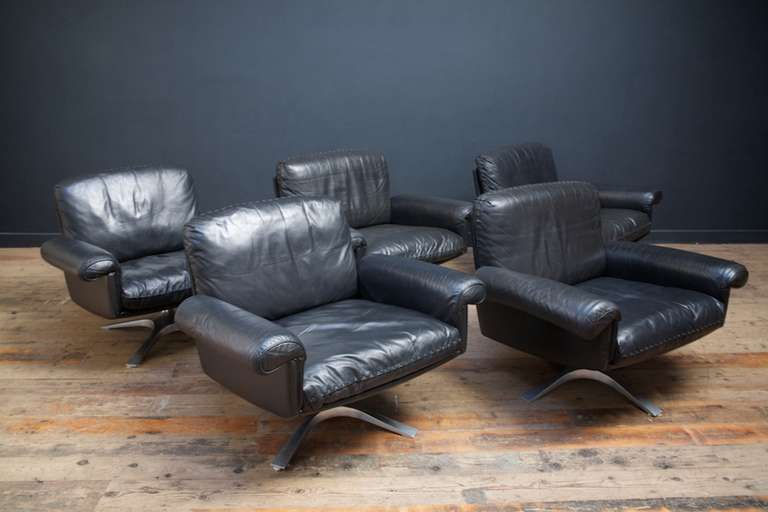 De Sede Black Leather Armchairs At 1stdibs