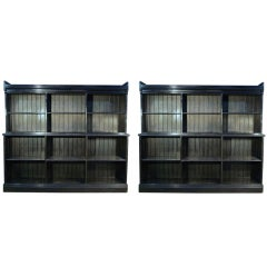 A Pair of Ebonized Library Gothic Book Cases