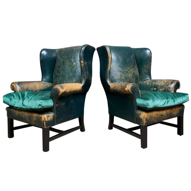 Green Leather Wingback Chairs at 1stdibs