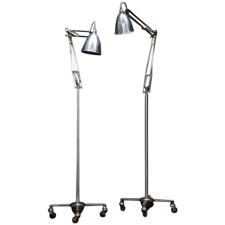 Floor Standing Anglepoise: Two Brass Floor Standing Anglepoise Lamps At 1stdibs