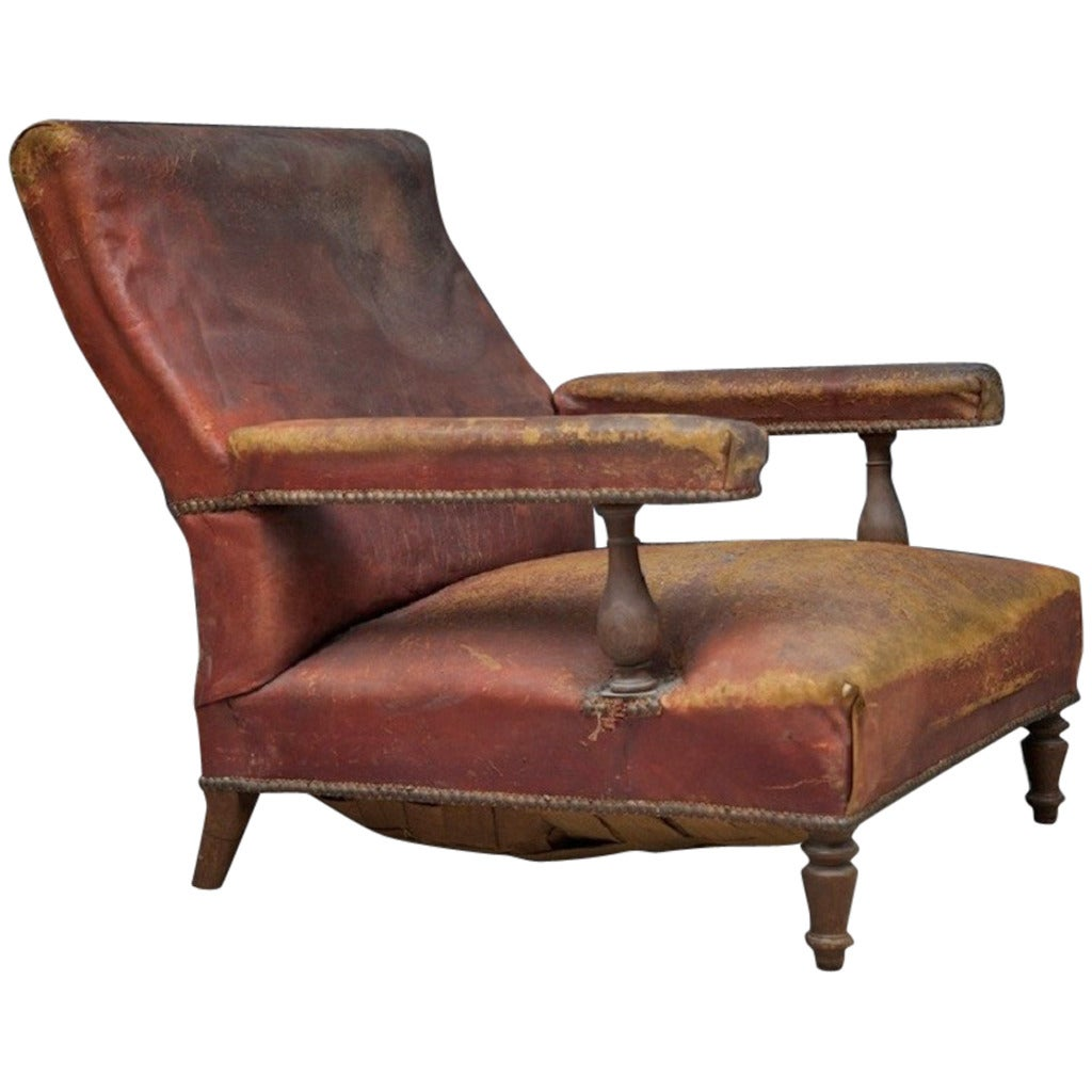 Low Leather Armchair at 1stdibs