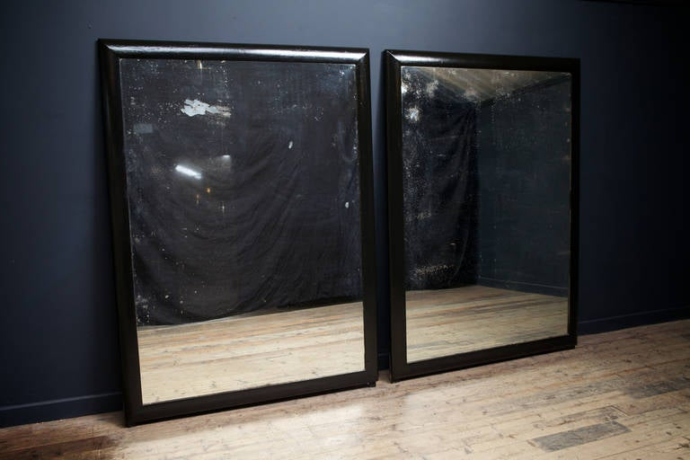 Pair of black framed mirrors at 1stdibs for Black floor length mirror